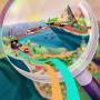 magnifying glass looking over a landscape of boats, trains, and trucks, symbolizing supply chain transparency